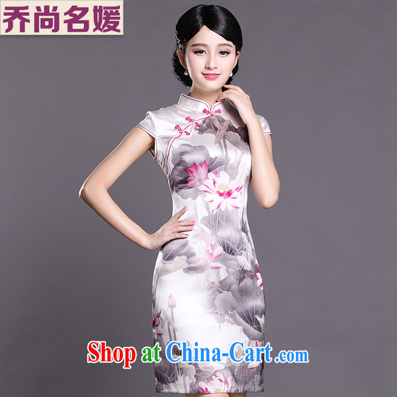 Joe is still a ritual summer new short-sleeved improved cheongsam dress silk aura women ZS 047 white XXL