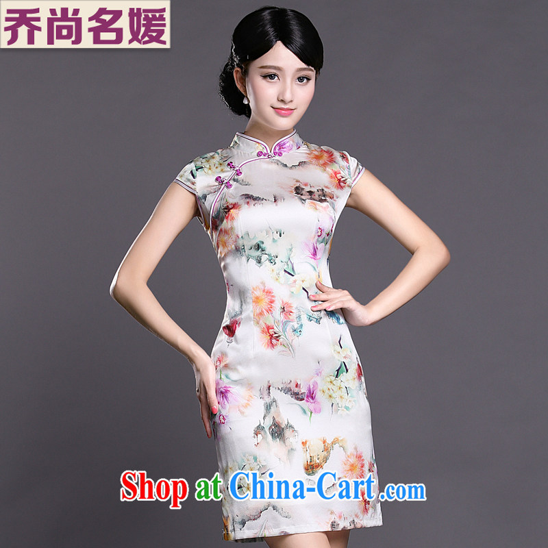 Joe is still name-yuan cheongsam dress silk summer aura new ethnic wind ZS 048 white XXL