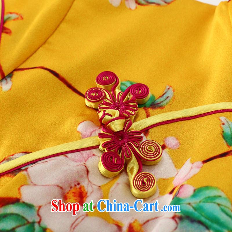 Joe is still a ritual summer new, short-sleeved improved Silk Cheongsam dress ethnic wind load Tang ZS 049 yellow XXL, CHOSHAN LADIES, shopping on the Internet
