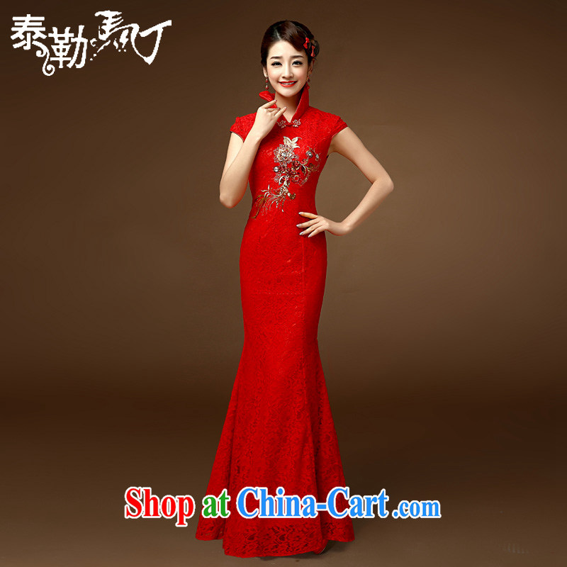 2015 bridal toast clothing retro stylish short-sleeve-waist beauty graphics thin banquet wedding marriage crowsfoot cheongsam dress red XL
