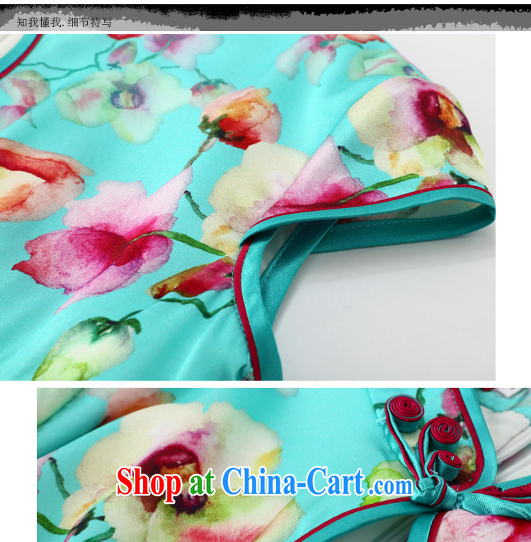 Joe is still name-yuan National wind cheongsam dress silk new summer Chinese Dress ZS 056 blue XXL pictures, price, brand platters! Elections are good character, the national distribution, so why buy now enjoy more preferential! Health
