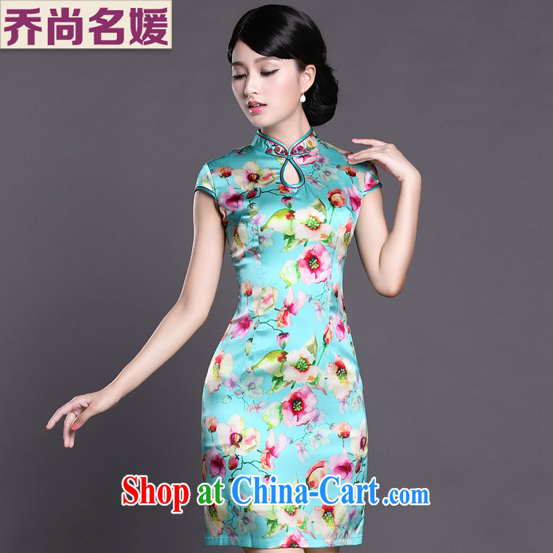 Joe is still name-yuan National wind cheongsam dress silk new summer Chinese Dress ZS 056 blue XXL