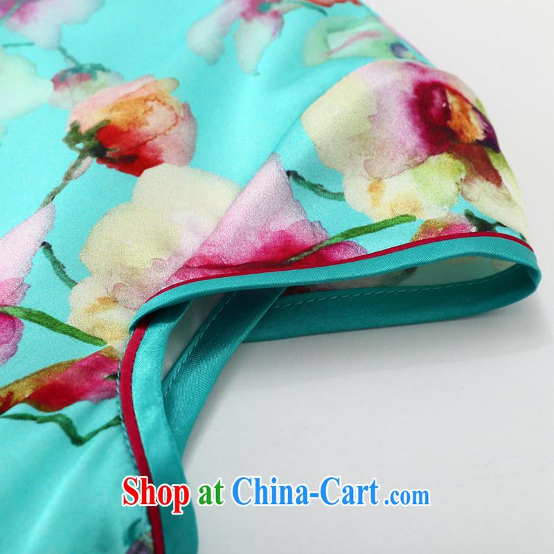 Joe is still name-yuan National wind cheongsam dress silk new summer Chinese Dress ZS 056 blue XXL, CHOSHAN LADIES, shopping on the Internet