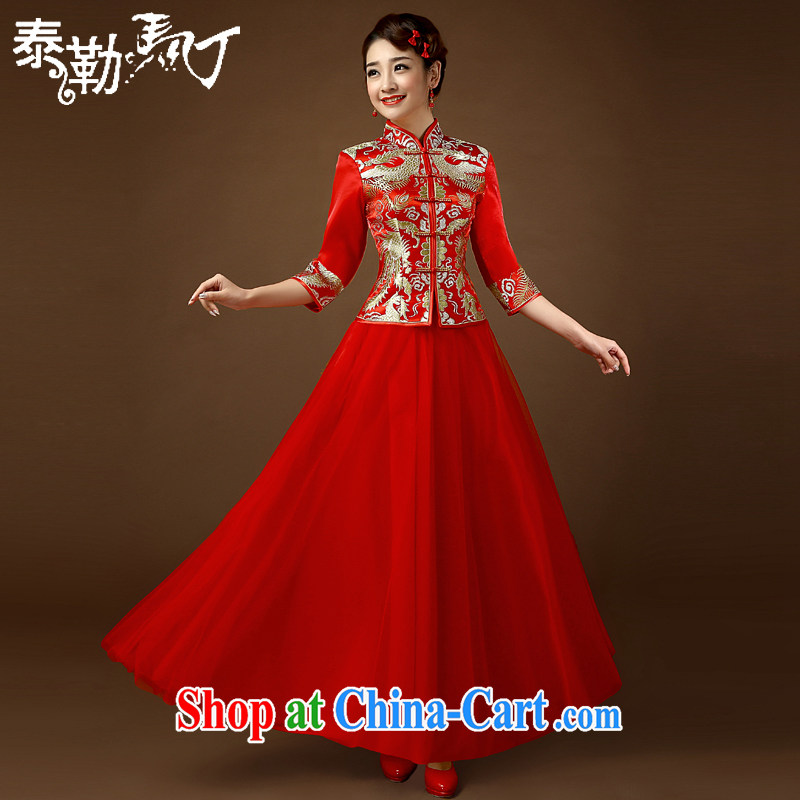 In 2015 cuff summer dresses wedding beauty Wedding Video thin large code Chinese lace stylish bridal long serving toast red XL