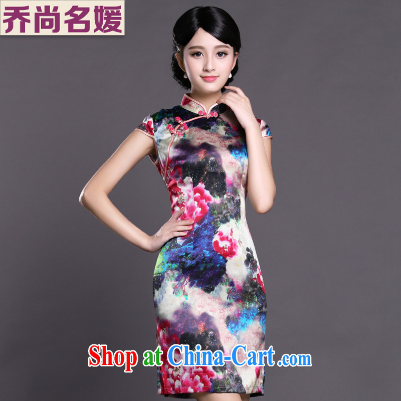 Joe is still name-yuan style cheongsam dress silk summer new Chinese Dress ZS 057 red XXL