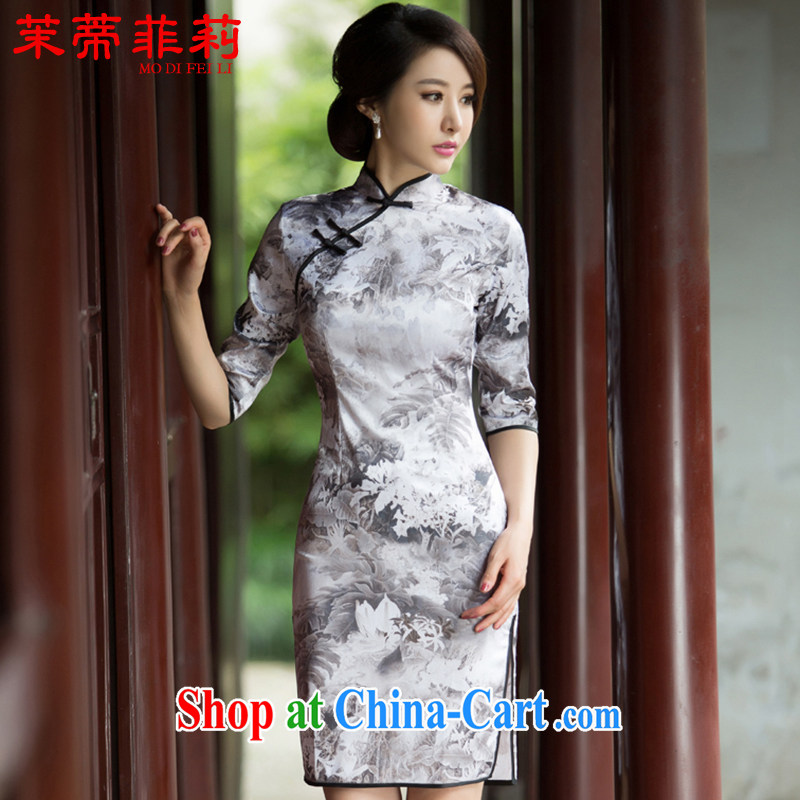 Energy Mr. Philip Li 2015 spring and summer new painting, long-sleeved cheongsam dress retro fashion China wind everyday, qipao XXXL paintings