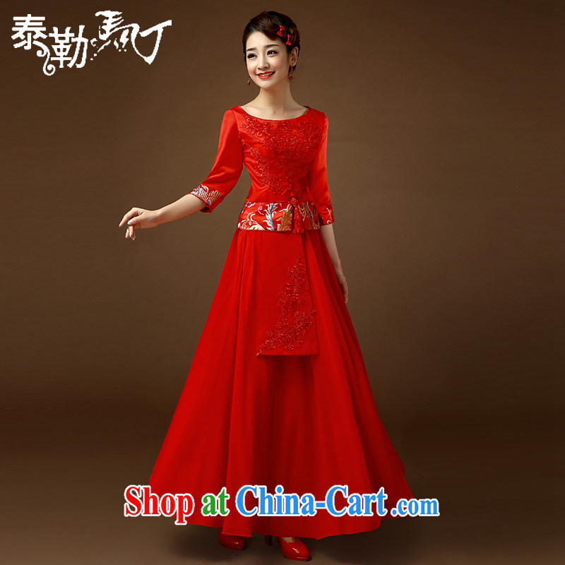2015 wedding dresses spring and summer, the Chinese received back Chinese long marriages wedding toast clothing cheongsam dress red XL