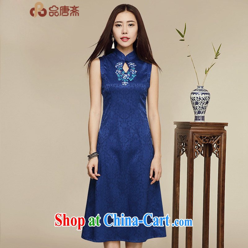 Mr Tang, Id al-Fitr blue and white porcelain cheongsam dress 2015 new summer improvement Ms. stylish retro daily video thin cheongsam dress picture color XL