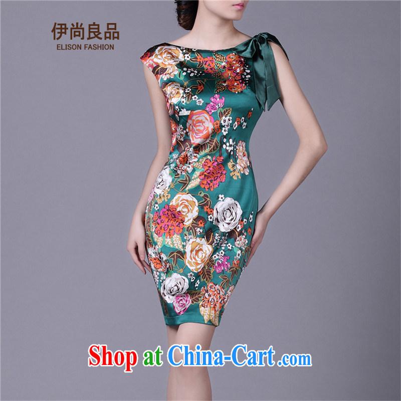 Iraq is still good, summer 2015 New Product silk stamp dress vest skirt stylish commuter sauna silk OL improved cheongsam dress green XXXL