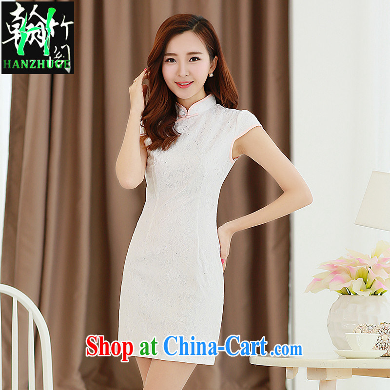 Han bamboo Pavilion 2015 new summer improved retro beauty dresses bridal wedding dress toast clothing cheongsam dress white XXL