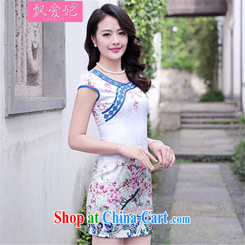 Floating Princess love 2015 summer new retro stamp duty cotton short-sleeved beauty package dresses and dress blue and white porcelain girl further skirt toner Phillips XXL