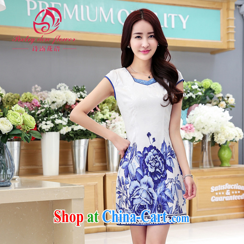 Poetry Ruth flowers, summer 2015 new larger female retro beauty aura high stamp duty short improved cheongsam dress dress picture color XXL