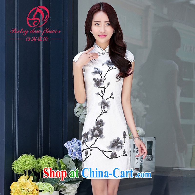 Ms Elsie Leung, Ruth flowers, summer 2015 new large code dress retro beauty aura upscale embroidered short, improved cheongsam dress dress picture color XXL