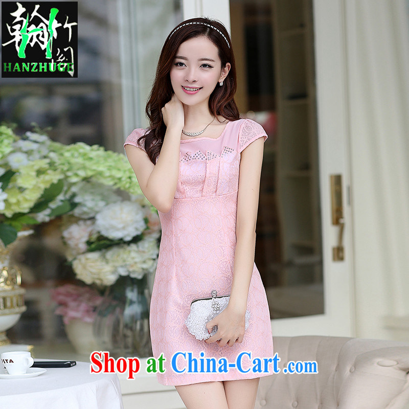 Han bamboo Pavilion 2015 new summer dress short-sleeved lace retro improved stylish China wind short cheongsam dress pink XXL