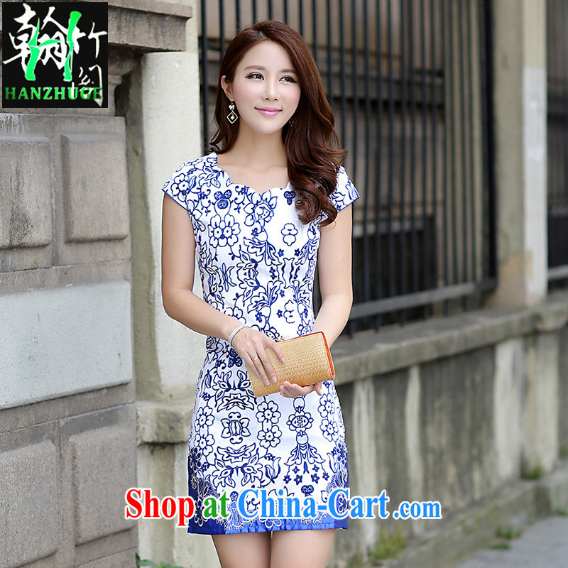 Han Bamboo House Summer 2015 new dress short-sleeved style beauty retro improved national wind cheongsam dress short, blue and white porcelain XL