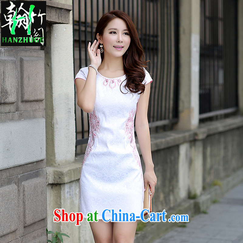 Han bamboo Pavilion new retro elegant refined short cheongsam 2015 summer short sleeve embroidered sweet stylish dresses pink XL