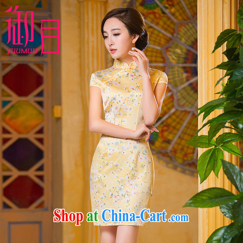 Imperial Palace, improved short cheongsam silk spring and summer daily retro graphics thin, dress light yellow xxl