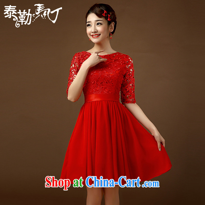 2015 bridal dresses retro fashion the waist beauty graphics thin large code short Chinese banquet improved cheongsam dress red XL
