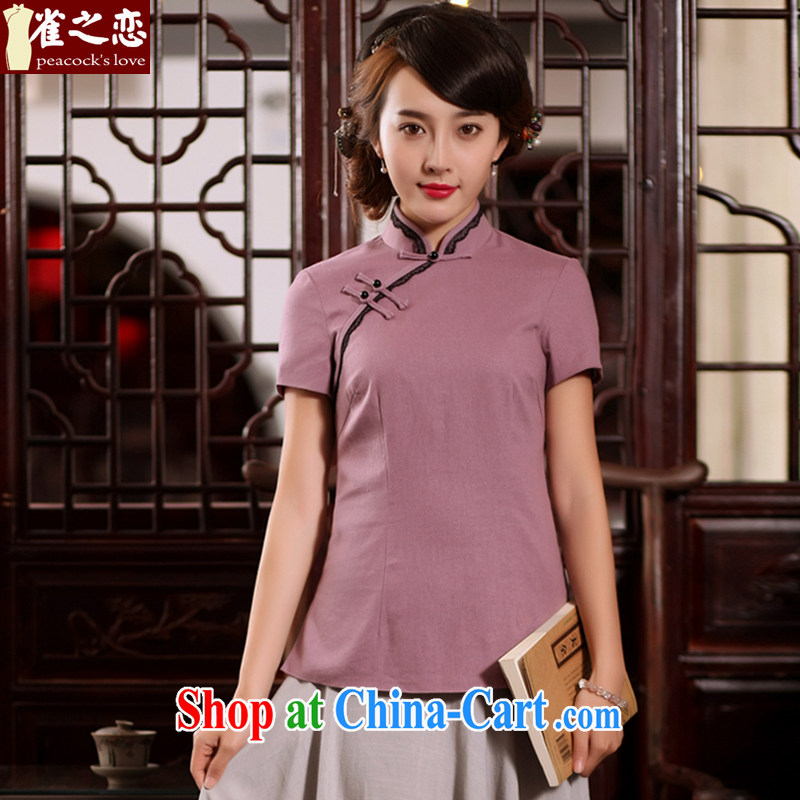 Bird lovers of his 2015 summer new stylish and improved cheongsam Chinese Tang is short-sleeved cotton the cheongsam shirt QD 780 elegant purple XXL