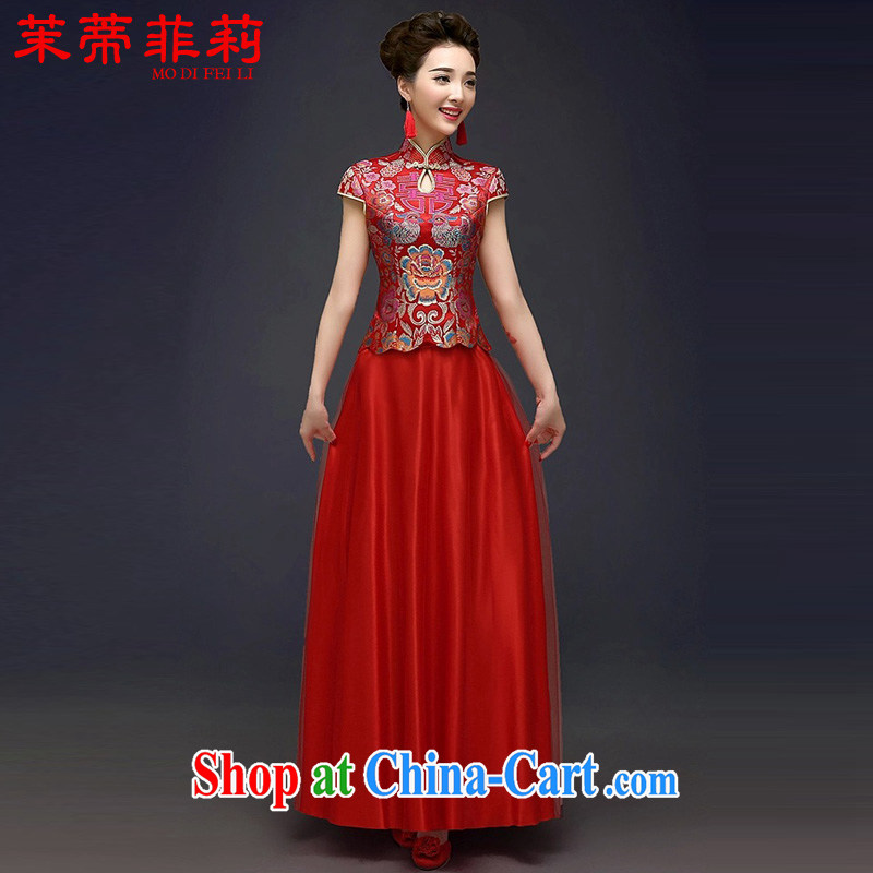 Energy Mr. Philip Li improved cheongsam Sau Wo service female T-shirt Chinese red dress bridal toast serving red XXL
