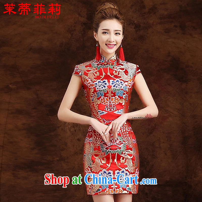 Energy Mr. Philip Li retro improved lace cheongsam dress summer 2015 New Style embroidery girl short skirt red XXL