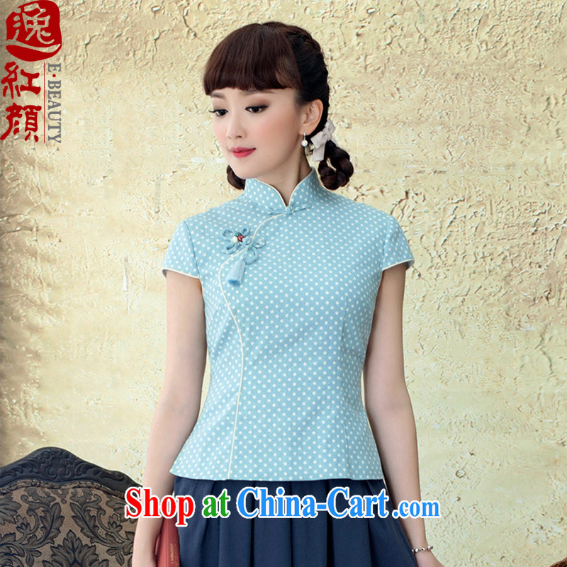 once and for all and fatally jealous Ching Chin dresses T-shirt girls summer 2015 National wind cotton the stamp beauty antique dresses T-shirt light blue 2 XL