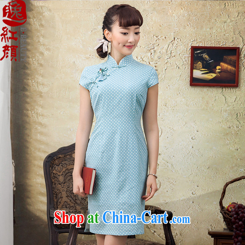 once and for all and fatally jealous Ching Chin new dresses summer 2015 high quality linen dot improved cultivating short cheongsam dress blue 2 XL