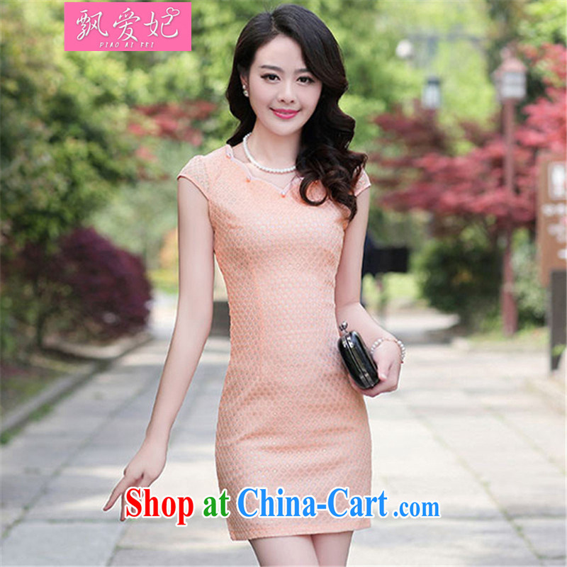 Floating Princess love 2015 new summer improved retro style package and short dresses, elegant graphics thin beauty fashion dresses pink 3XL
