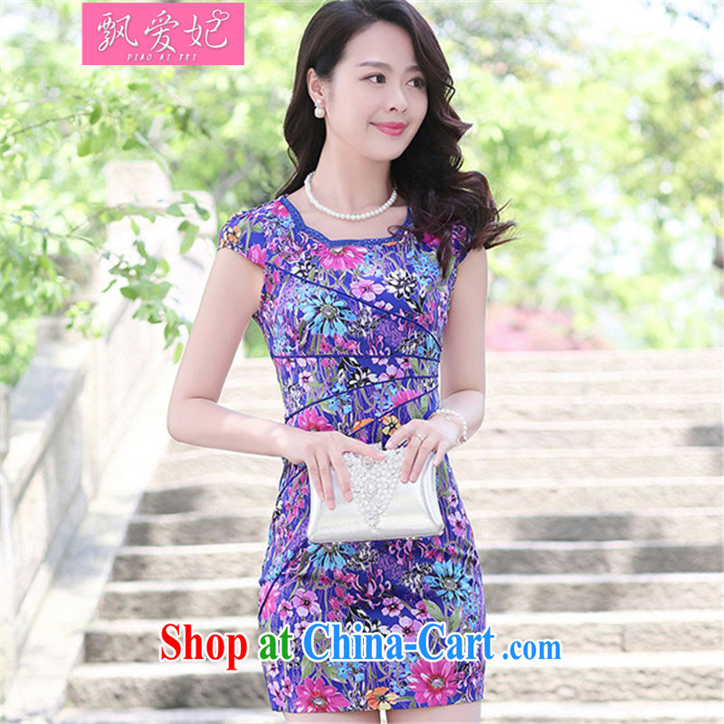 Floating Princess love 2015 new summer landscape stamp antique dresses stylish Daily Beauty short cheongsam dress blue Sun Flower XXL
