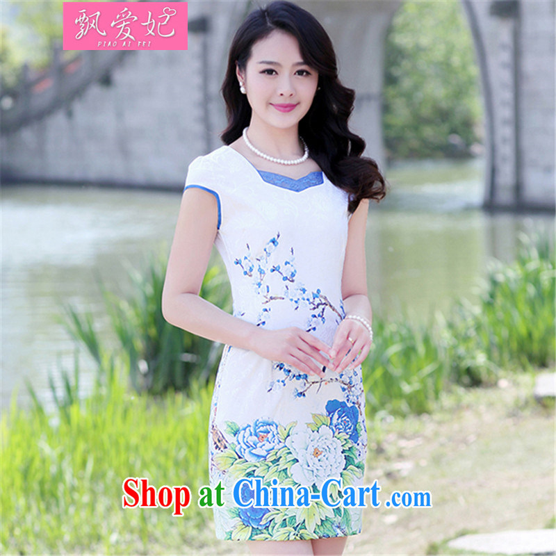 Floating Princess love 2015 new female stamp dresses summer short-sleeved beauty retro national dresses package and light blue Peony XL