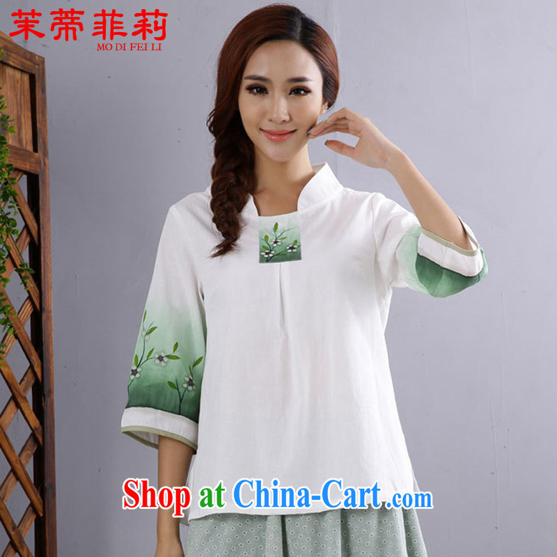 Energy Mr. Philip Li improved Han-girl T-shirt new summer Chinese Ethnic Wind Chinese cotton the female white L