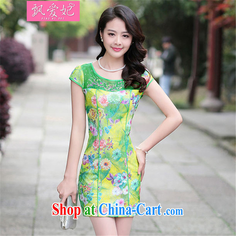 Floating love Princess 2015 new summer Korean watercolors take retro stamp duty cultivating the waist graphics thin short cheongsam dress yellow bottom rose M