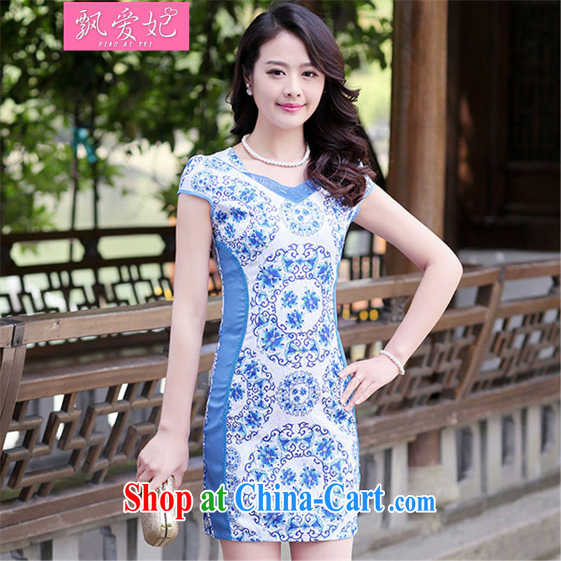 Floating Princess love 2015 summer new, Retro ethnic wind beauty graphics thin dresses short package and stamp duty cheongsam hospitality service blue and white porcelain XXL
