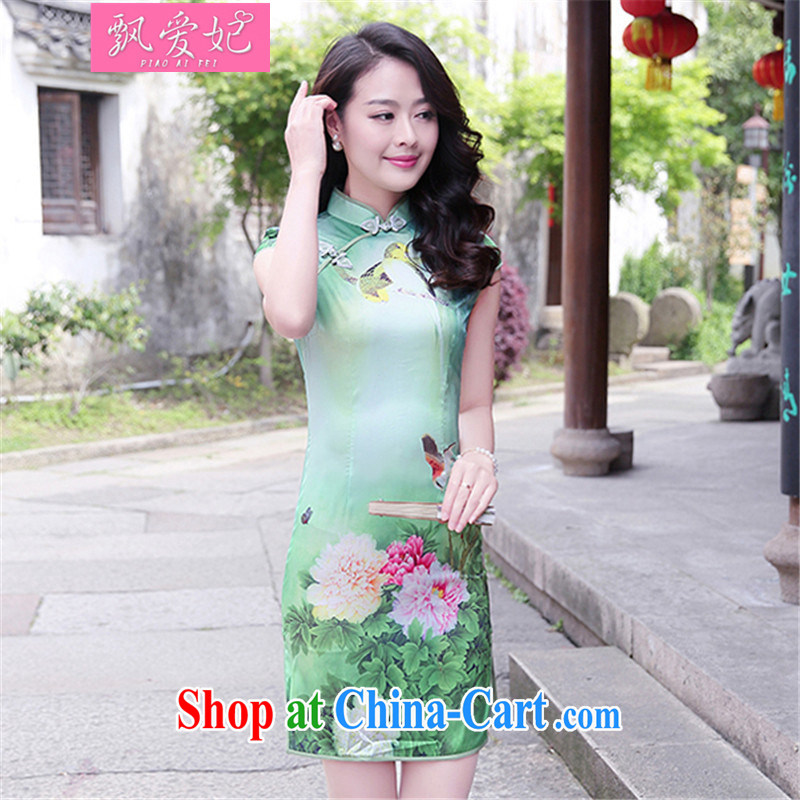 Floating Princess love 2015 summer new, female retro stamp duty cultivating short the forklift truck cheongsam dress package and dresses Peony flowers XXL