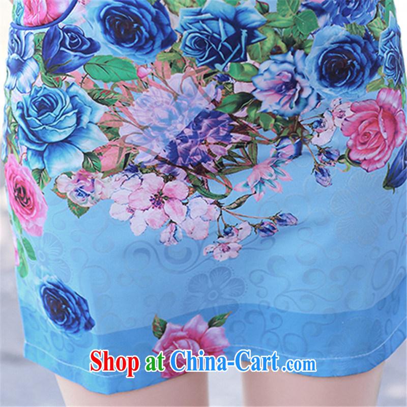 Floating Princess love 2015 summer new stylish rose stamp cheongsam dress beauty graphics thin package and cheongsam dress blue roses XXL, floating love Princess piaoaifei), online shopping