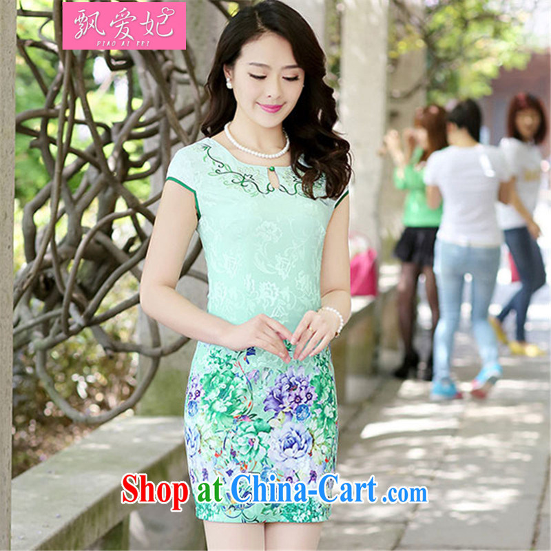 Floating Princess love 2015 summer new, improved antique peony flower fashion style beauty cheongsam dress short dress green the Peony L