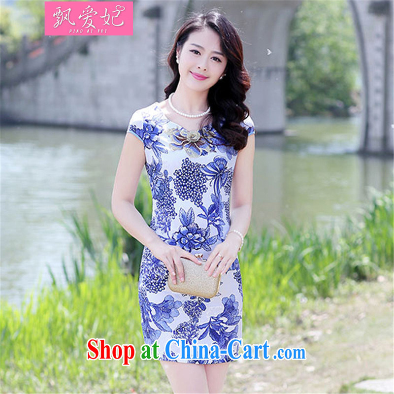 Floating love Princess summer 2015 new waves for stamp duty short cheongsam dress stylish beauty daily the street dress Blue on white flower XXL