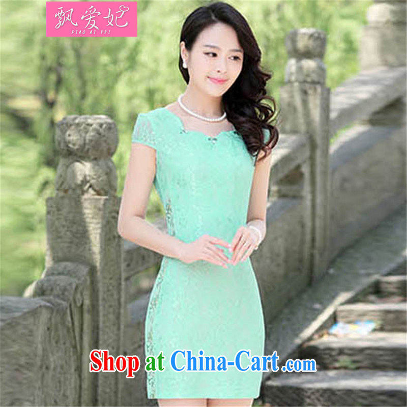Floating love Princess summer 2015 new stylish stamp improved daily dress elegant the waist graphics thin cheongsam dress package and green XL