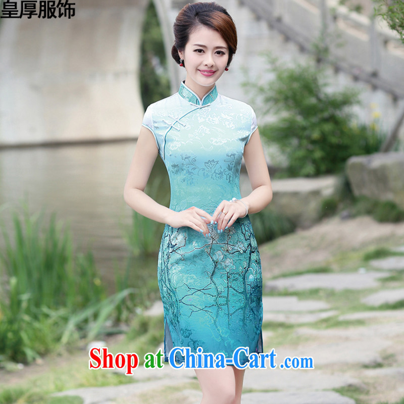 Not thick clothes 2015 summer new elegance lace stitching cultivating graphics thin OL package and retro improved cheongsam dress female container take XXXL