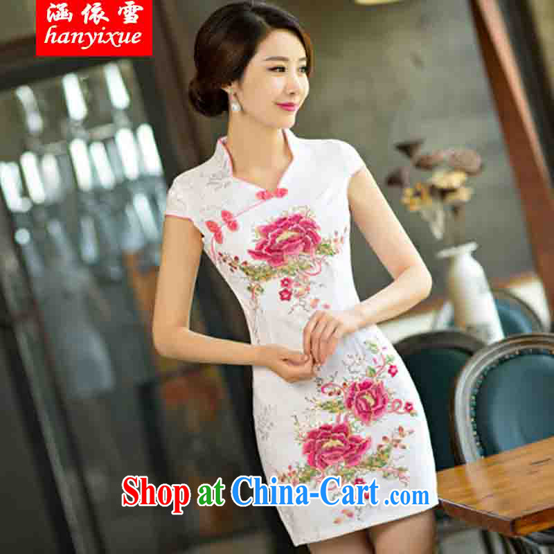 covered by snow in accordance with 2015 new daily cheongsam dress, short dresses summer improved the Code women serving toast saffron XXL