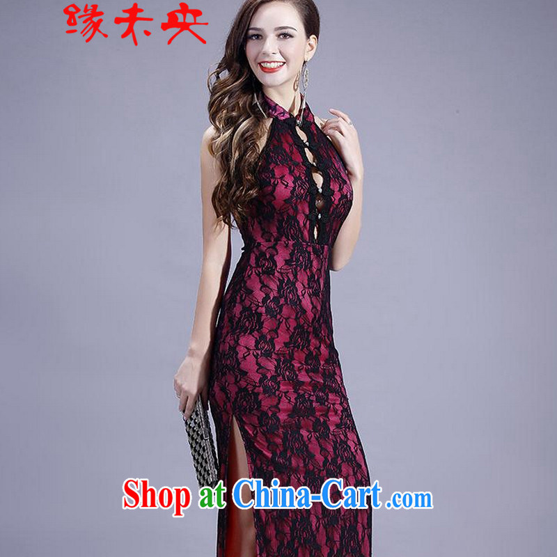 The flies love 2015 New on the truck night dresses long antique roses embroidery back exposed dresses T C 401 of 807 red are code