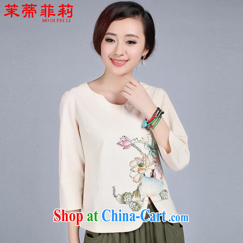 Energy Mr. Philip Li new under the truck on the cotton T-shirt girls hand painted Ethnic Wind tang on the charge-back retro girls improved Han-beige XXL