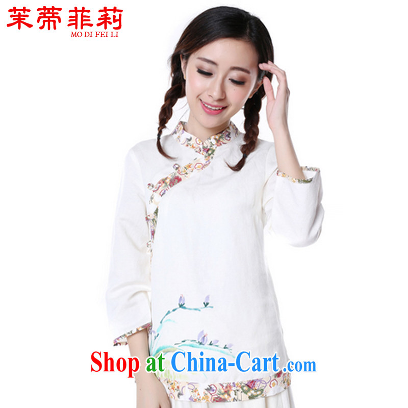 Energy Mr. Philip Li China wind cotton Ma T-shirt girls 2015 summer new Chinese hand-painted improved Han-female white XL