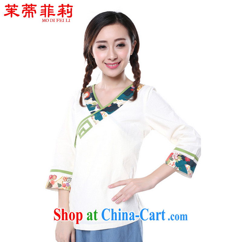 Energy Mr. Philip Li Yau Ma Tei cotton shirt girl painting the Summer New China wind retro improved Han-Chinese White XL