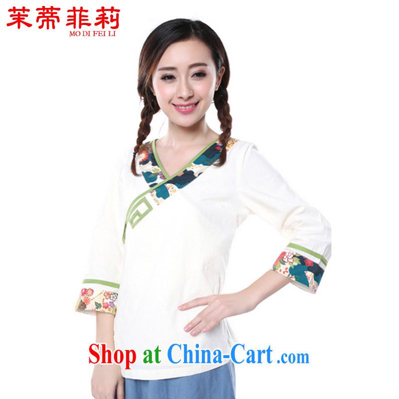 Energy Mr. Philip Li Yau Ma Tei cotton shirt girl painting the Summer New China wind retro improved Han-Chinese White XL
