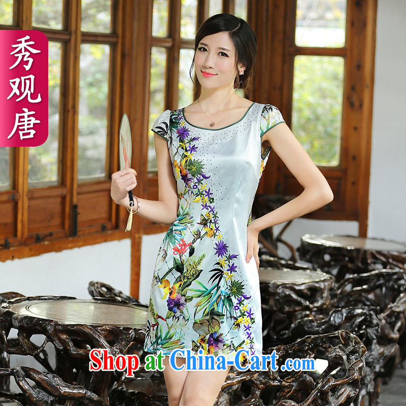 The CYD HO Kwun Tong' shore spent summer fashion improved cheongsam dress 2014 New China wind stamp cheongsam dress QD XXL 4413