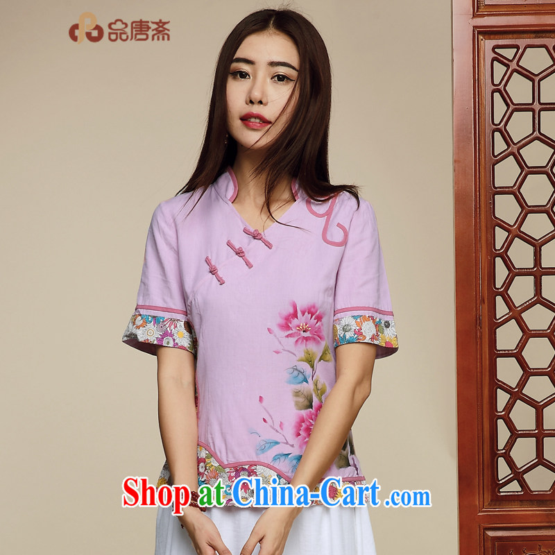 Mr Henry Tang, Id al-Fitr Chinese wind Tang Women's clothes 2015 summer new Chinese tea serving short-sleeved T-shirt outfit picture color XL