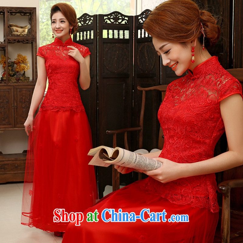 Dresses 2015 new summer bridal toast serving red Chinese marriage short-sleeve long cultivating the dress code female Q XL 2007