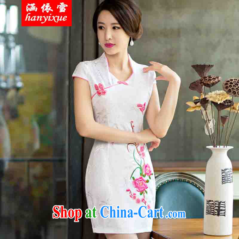 covered by snow in summer 2015 with improved female cheongsam dress retro beauty everyday dresses short dresses red XXL