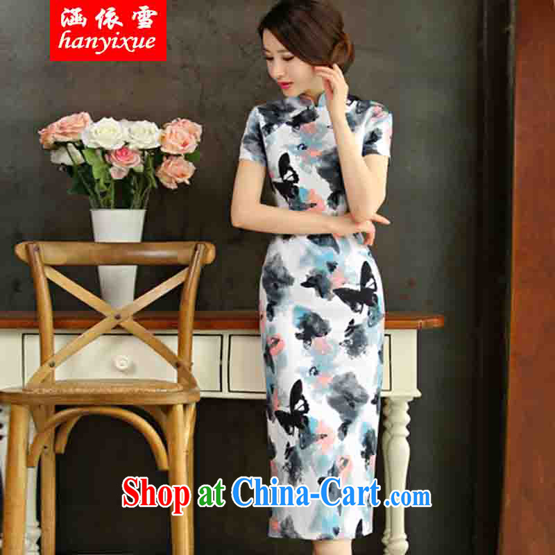 covered by snow in accordance with 2015 spring and summer beauty retro graphics thin short sleeves in the Code improved linen long cheongsam dress picture color XXL